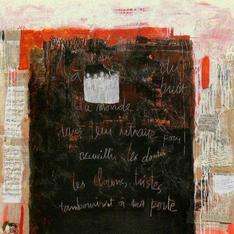 À fleur de mots, 120x120, 2011, Huile sur toile, Françoise Pirró
