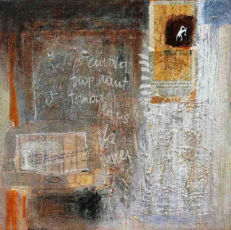 Il s'envola trop haut et tomba dans la mer, 80x80, 2007, Huile sur toile, Françoise Pirró