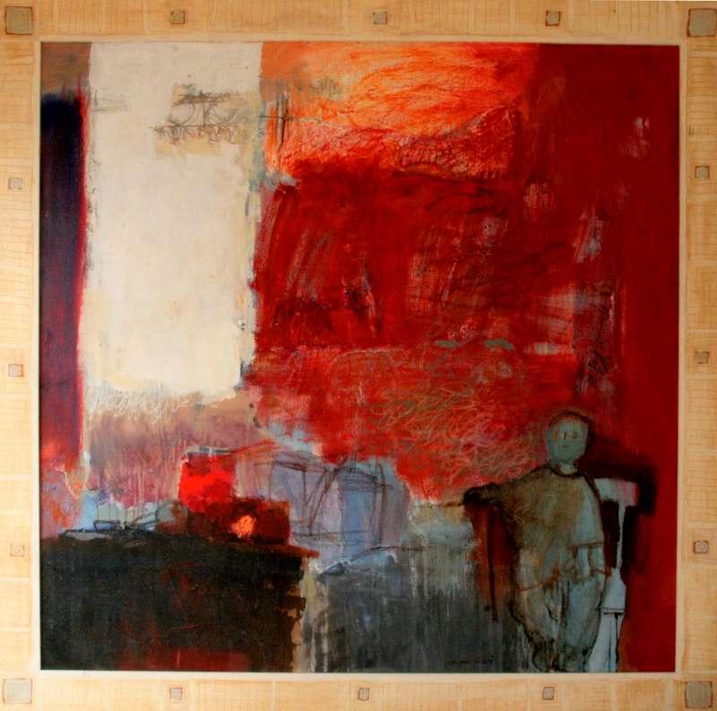 L'enfant à la chaise, 100x100, 2001, Huile sur toile, Françoise Pirró, photo Anne Reusser