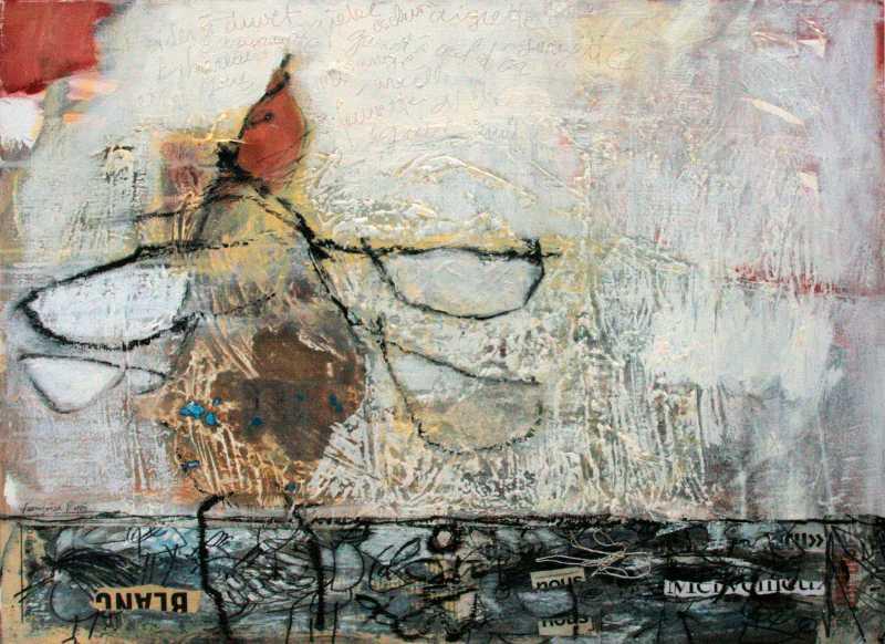 L'oiseau de l'enfant (10) fond blanc, 66x54, 2008, Huile sur toile, Françoise Pirró, photo Anne Reusser