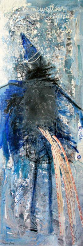 L'oiseau de l'enfant (6), 180x60, 2008, Huile sur toile, Françoise Pirró, photo Anne Reusser