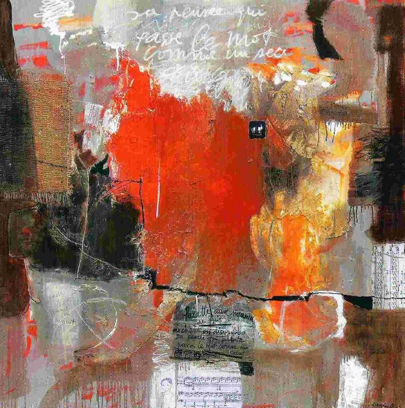 Passe le mot, 120x120, Huile sur toile, Françoise Pirró