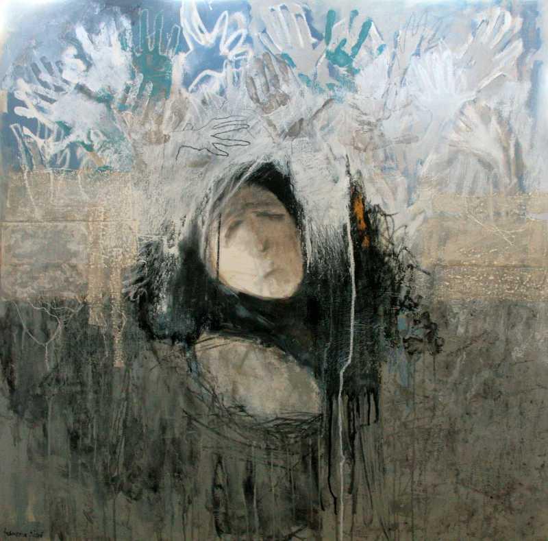 Pietá 5, 100x100, 2010, Huile sur toile, Françoise Pirró, photo Anne Reusser