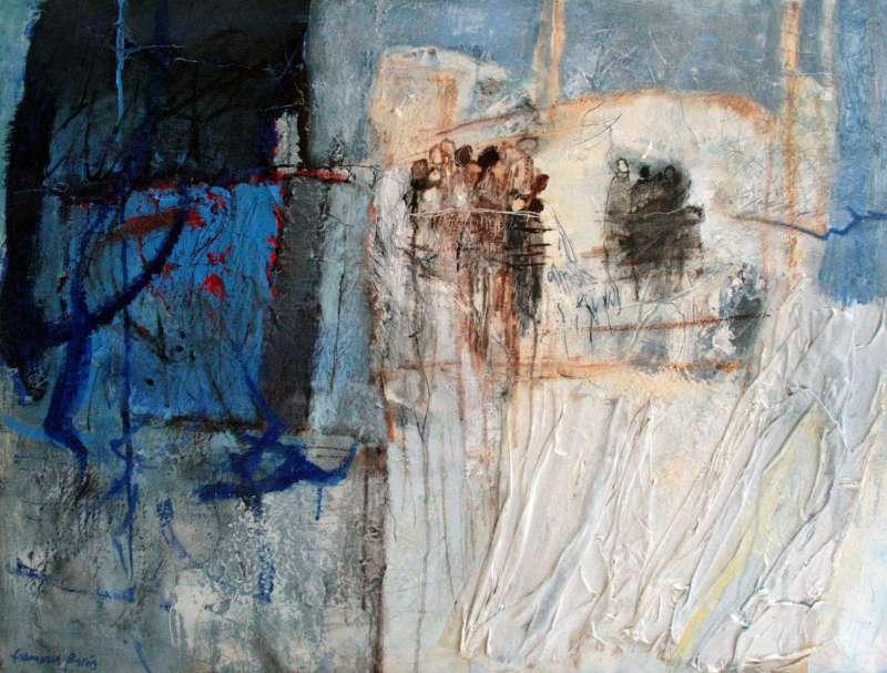 Témoins 7, 81x65, 2015, Huile sur toile, Françoise Pirró, photo Anne Reusser