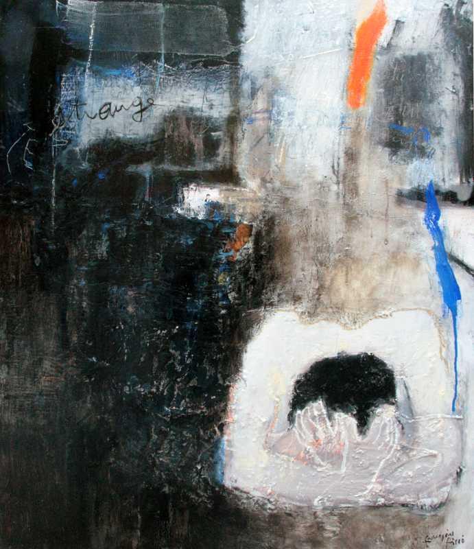 Tu veux rester les yeux fermés, une étrange blessure dans le cœur, 73x60, 2013, Huile sur toile, Françoise Pirró, photo Anne Reusser