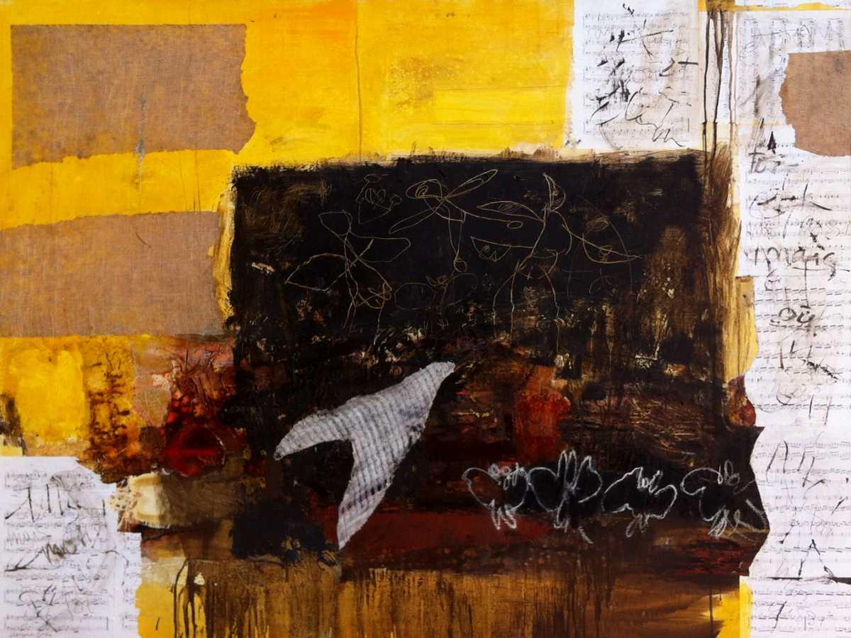 L'oiseau de l'enfant, 162x130, 2008, Huile sur toile, Françoise Pirró