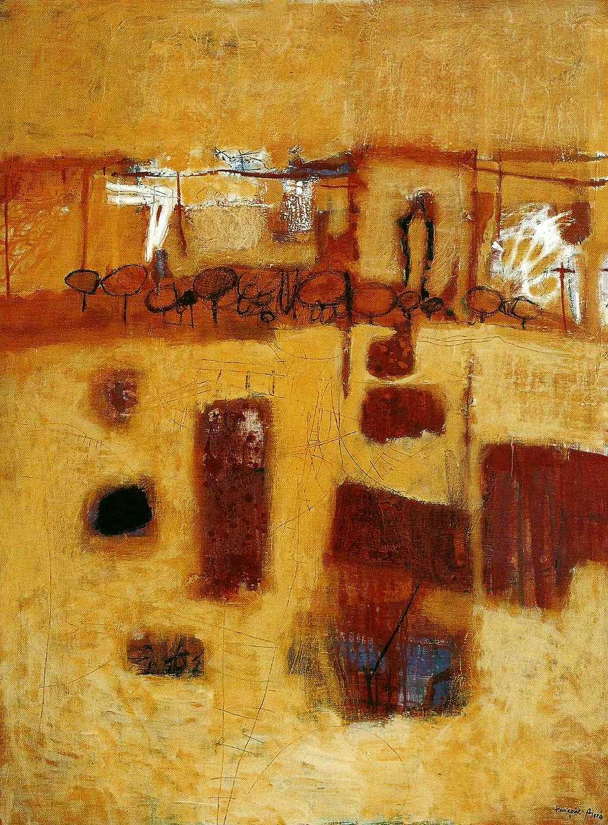 Paysage propice à l'oiseau, 130x97, Huile sur toile, 2003, Françoise Pirró